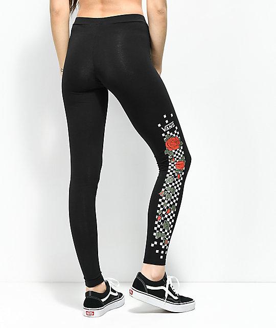 producto caliente estilo de moda completamente elegante Vans Rose & Checkerboard leggings negros | Zumiez