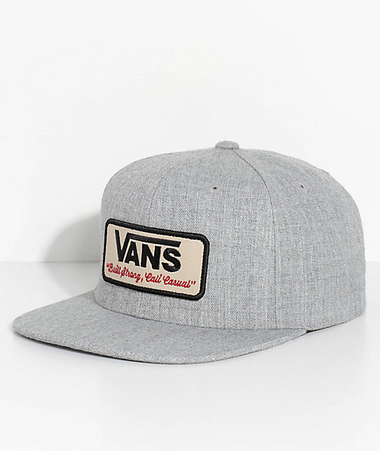 3e759e534b5 Vans Rowley Heather Grey Snapback Hat