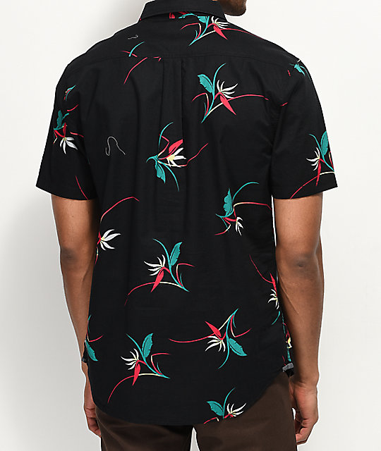 Vans Shade Black Floral Woven Short Sleeve Button Up Shirt