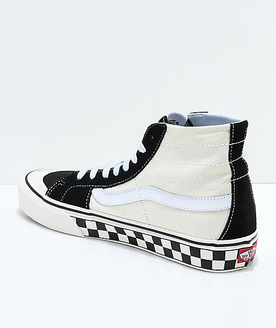 81edfe7324 ... Vans Sk8-Hi 138 Decon SF Black   White Checkered Skate Shoes ...