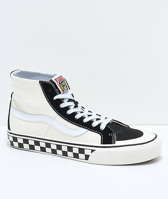 8e7a1ecf8b Vans Sk8-Hi 138 Decon SF Black   White Checkered Skate Shoes