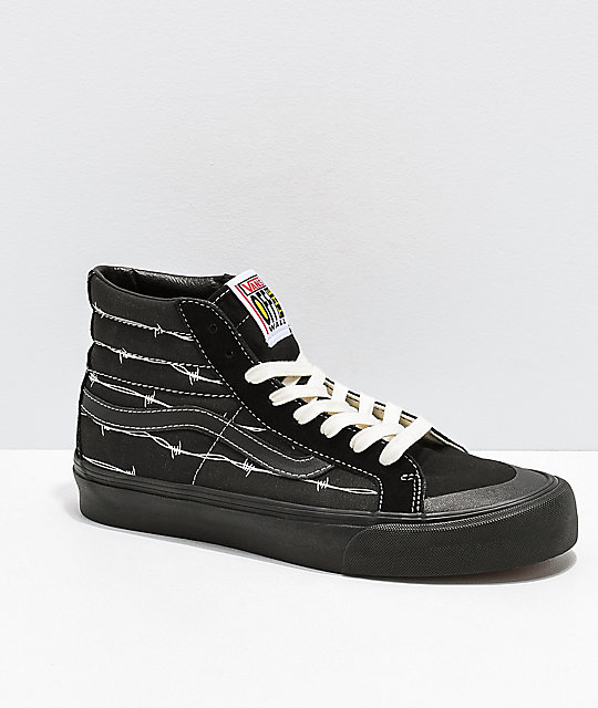 47cb6c08cc0cda Vans Sk8-Hi 138 SF Barbed Wire Black Skate Shoes