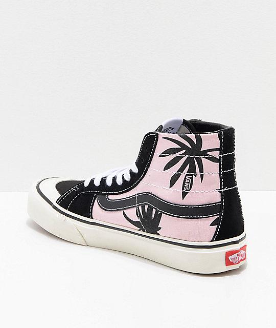 Vans Sk8 Hi 138 Summer Leaf Decon Pink & Black Skate Shoes