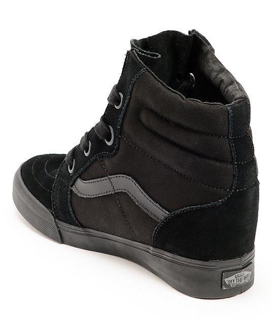 vans sk8 hi wedge all black