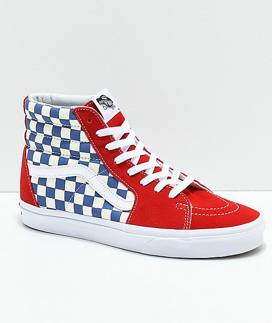 0e31d6d4 Vans Sk8-Hi BMX Checkerboard Blue, Red & White Skate Shoe