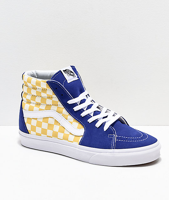 fd613614520b20 Vans Sk8-Hi BMX Checkerboard Blue   Yellow Skate Shoes