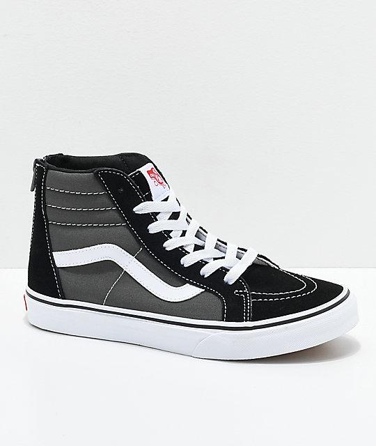 ee704b2873 Vans Sk8-Hi Black   Grey Zippered Skate Shoes