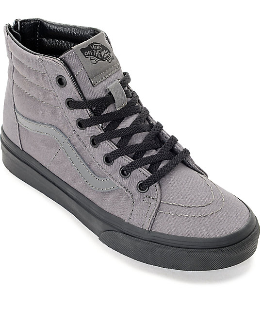3e612c35fe Vans Sk8 Hi Black   Pewter Kids Skate Shoes