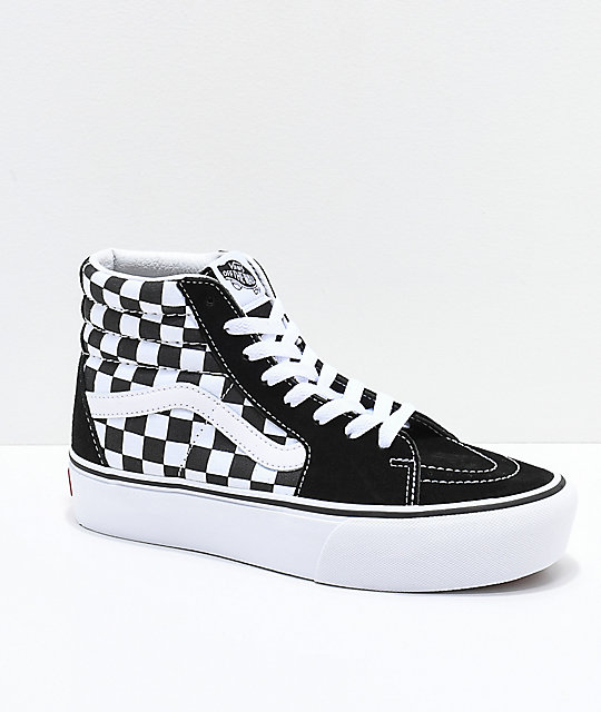 1a03a68d90 Vans Sk8-Hi Black   White Checkerboard Platform Shoes