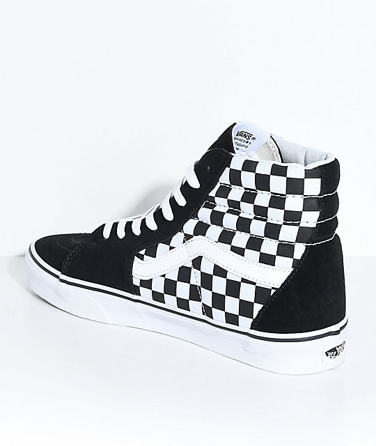 ee92327fa032 ... Vans Sk8-Hi Black   White Checkered Skate Shoes ...