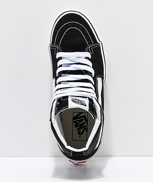 Vans Sk8-Hi Black & White Platform Shoes
