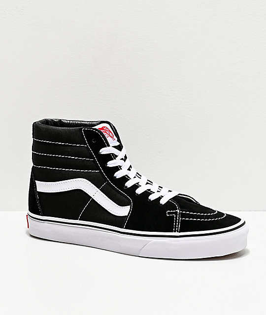 17b1590af7a7 Vans Sk8-Hi Black   White Skate Shoes