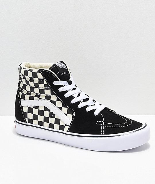 8fa18eefb2cdbf Vans Sk8-Hi Black   White Checkerboard Shoes