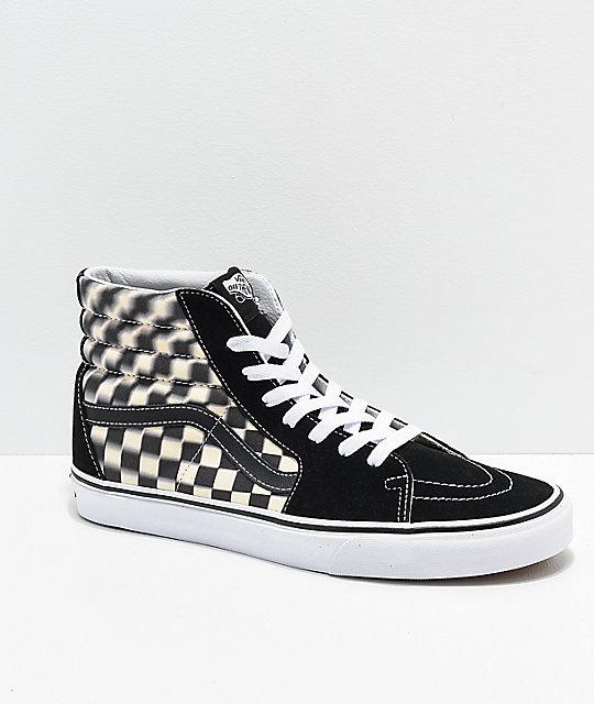 Vans Sk8-Hi Blur Black   White Checkerboard Skate Shoes  943182575