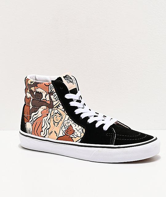 Vans Sk8 Hi Breast Cancer Awareness Black & White Skate Shoes