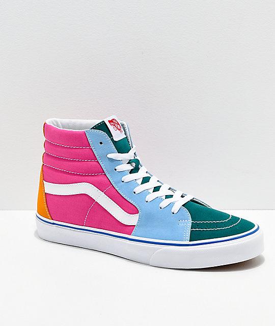 9473539e90fd Vans Sk8-Hi Bright Color Blocked Skate Shoes