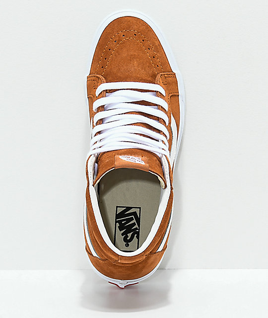 Vans Sk8-Hi Brown & White Pig Suede Skate Shoes