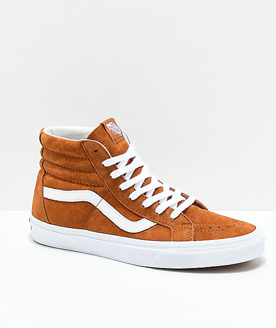 76cab982fa Vans Sk8-Hi Brown   White Pig Suede Skate Shoes