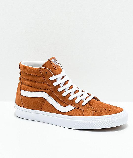 Vans Sk8-Hi Brown   White Pig Suede Skate Shoes  66afa1649
