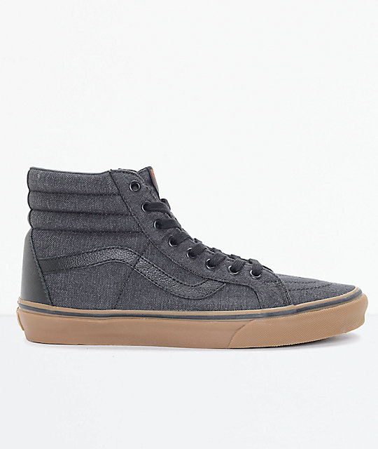 Vans Sk8-Hi CL Black Denim & Gum Skate Shoes