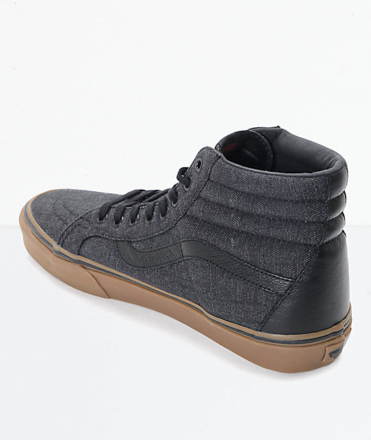 black leather vans with black sole