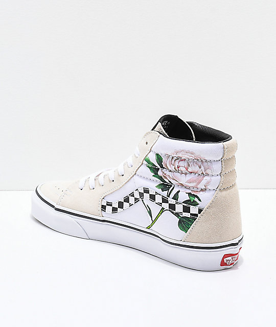 758f2b7fc4e538 ... Vans Sk8-Hi Checker Floral Turtle Dove   White Skate Shoes ...