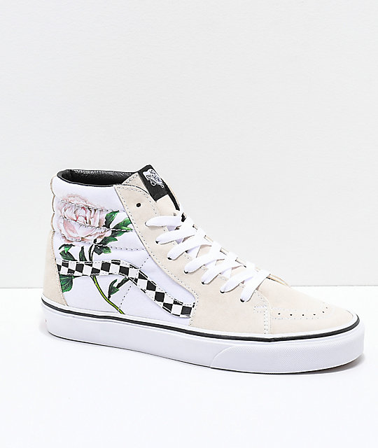 efb39441251 Vans Sk8-Hi Checker Floral Turtle Dove   White Skate Shoes