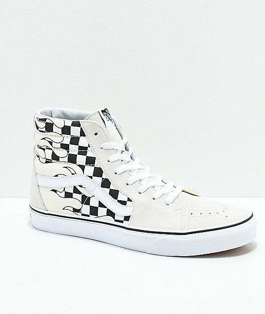 5473178d30 Vans Sk8-Hi Checkerboard Flame White Skate Shoes