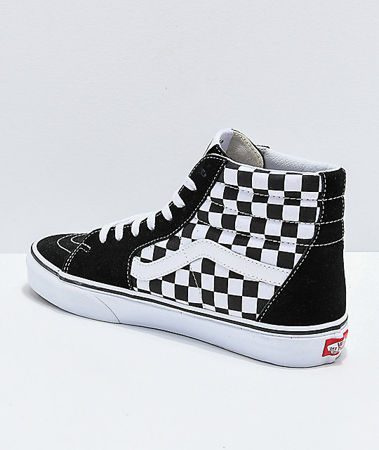 142a8c808b ... Vans Sk8-Hi Checkerboard Patch Black   White Skate Shoes ...