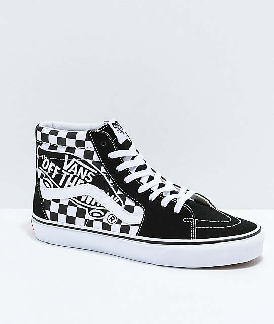 c85a24dc76 Vans Sk8-Hi Checkerboard Patch Black   White Skate Shoes