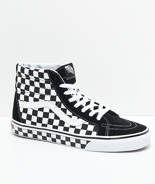 771c3b2e0c Vans Sk8-Hi Checkered Black   True White Skate Shoes