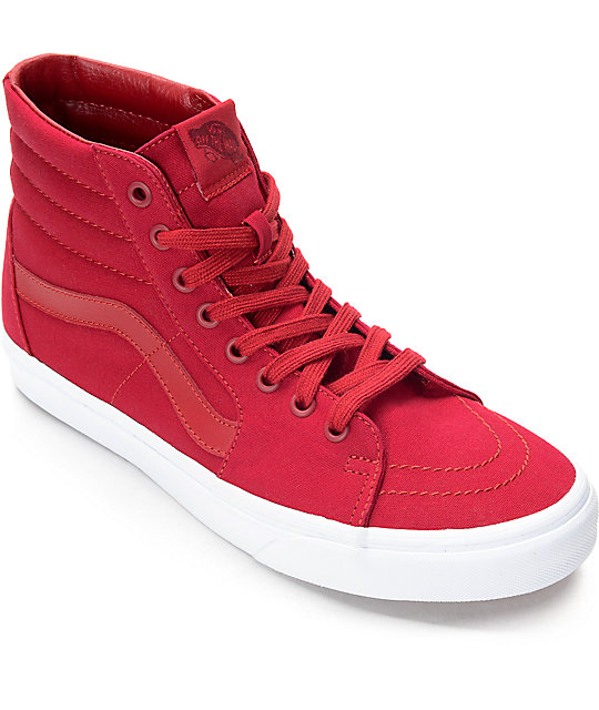 d21679e57af6 Vans Sk8-Hi Chili Red   White Skate Shoes