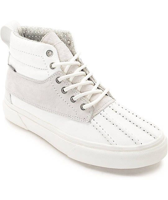57dbbbe5f8 Vans Sk8-Hi Del Pato White   White Shoes