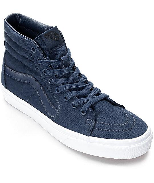 Vans Sk8-Hi Dress Blue   White Skate Shoes  691a707b6