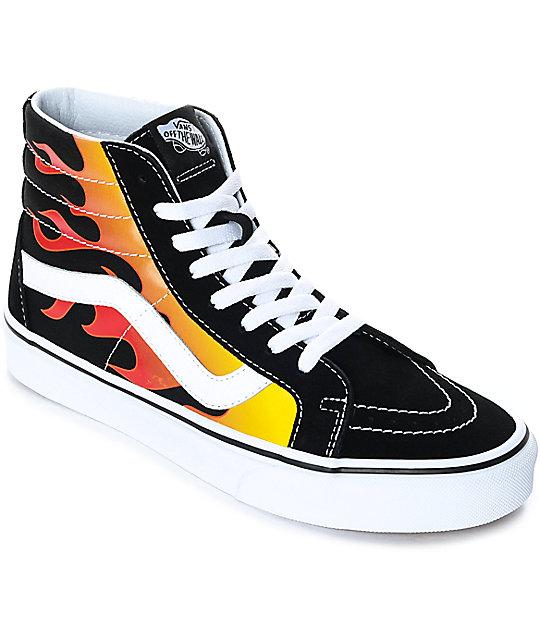 vans sk8 hi flame black white skate shoes zumiez