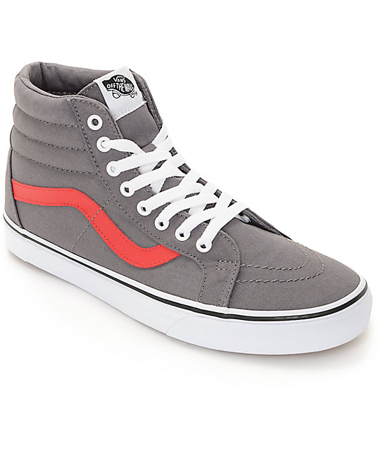 Vans Sk8 Hi Grey and Red Canvas Skate Shoes