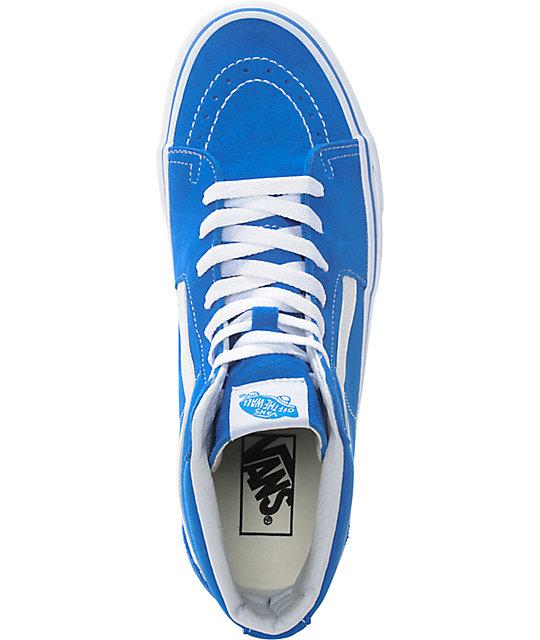 a1f5dde6d9e ... Vans Sk8-Hi Imperial Blue   White Skate Shoes ...