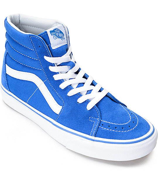 88e3b2ed Vans Sk8-Hi Imperial Blue & White Skate Shoes