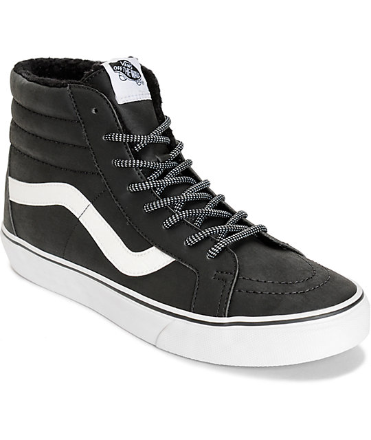 8fb0aa86f3 Vans Sk8-Hi Leather Fleece Skate Shoes