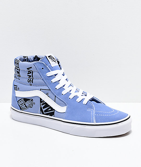 Vans Sk8-Hi Logo Mix Lavender & Black Skate Shoes