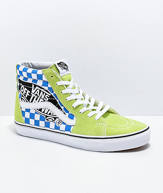 9b05c3a8edd0b3 Vans Sk8-Hi Logo Patch Green   Blue Checkered Skate Shoes