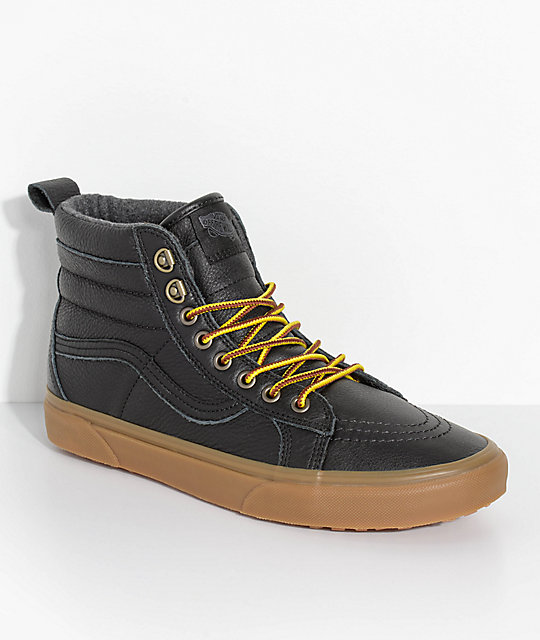 a73e6c1abd8c64 Vans Sk8 Hi MTE Black Leather   Gum Shoes