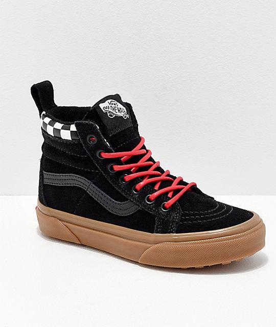 51f2ed00090 Vans Sk8-Hi MTE Checkerboard   Black Shoes
