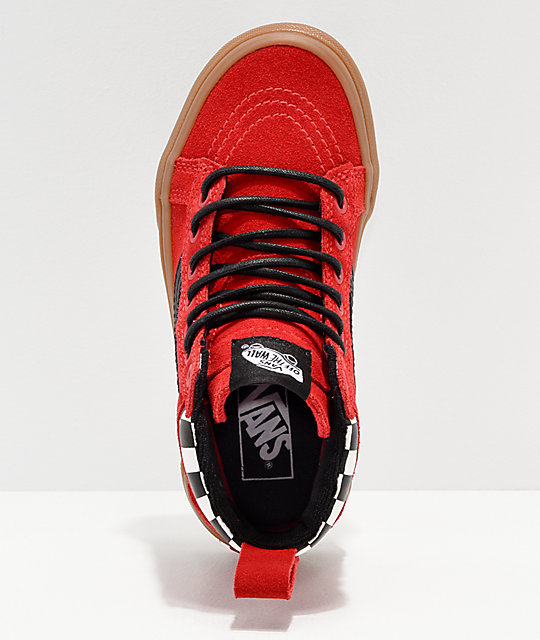 ded0a320771 ... Vans Sk8-Hi MTE Checkerboard   Red Shoes ...