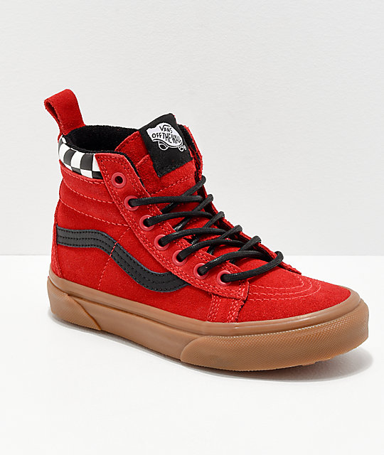 check out limited sale search for genuine Vans Sk8-Hi MTE Checkerboard & Red Shoes