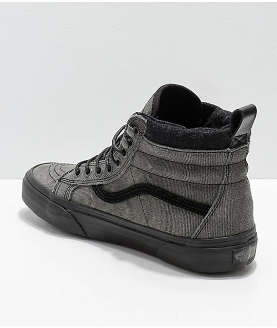 Vans Sk8-Hi MTE Grey & Black Denim Suede Shoes