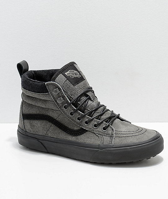 0266a47da97286 Vans Sk8-Hi MTE Grey   Black Denim Suede Shoes