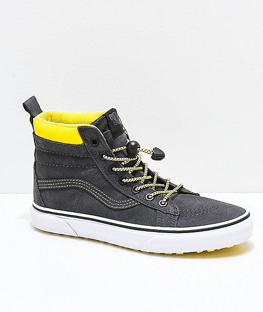 9cf22655eebcea Vans Sk8-Hi MTE Grey   Yellow Shoes