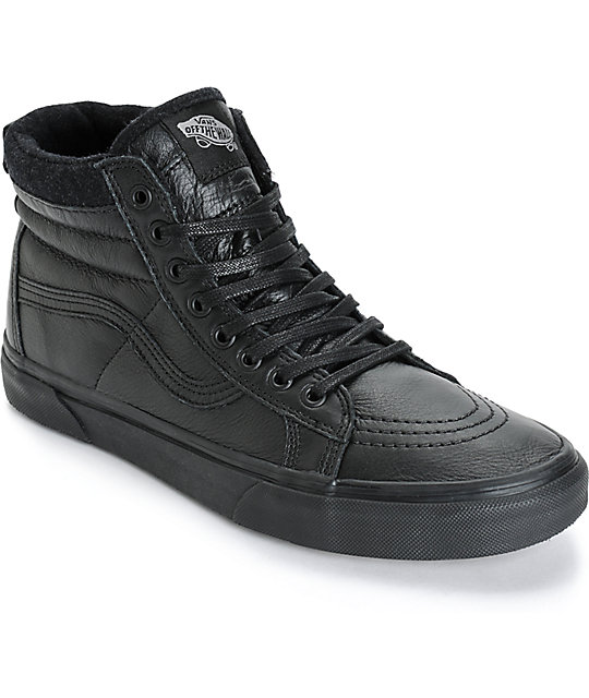 vans all black leather