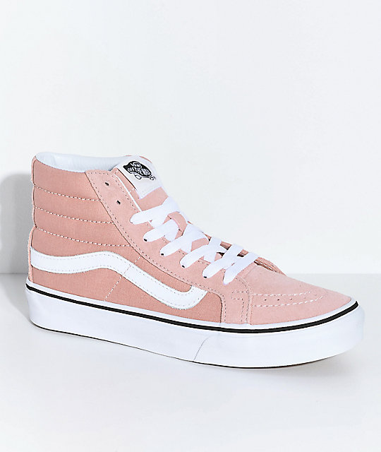 Vans Sk8-Hi Mahogany Rose & White Skate Shoes